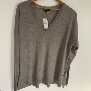 Fine Merino collection v neck wool blend sweater